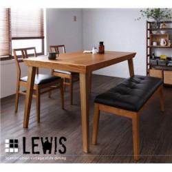 テーブル | 天然木北欧ヴィンテージスタイルダイニング【LEWIS】ルイス/5点セット(テーブル+チェア×4)